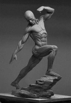 筋肉を際立てようと、 ポーズを考えてみた。 顔、腕、前面、下半身と すべての筋肉を、盛り上げてみた。