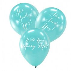 He asked ... She said YES! || Will You Marry Me?/She Said Yes! Aqua Latex Balloons {Package of 6} #beforetheidos #shesaidyes #engaged