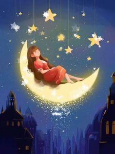 Illustration Nocturne, Night Illustration, Good Night World, Good Night Image, Art Anime Fille, Anime Art Girl, Beautiful Moon, Anime Scenery, Moon Art