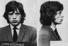 Mick Jagger posed for the above mug shot in 1967 after being arrested in England on a narcotics charge. Jagger, 23, was busted after police, acting on a tip, raided the country home of fellow Rolling