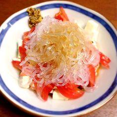 プールでお腹減ったから… - 7件のもぐもぐ - 豆腐とトマトと春雨のサラダ by emuii