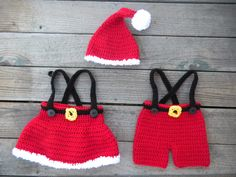 2 Pattern Deal -- Santa Suit and Skirt Set Crochet Pattern -- Pattern includes sizes newborn through toddler (1-3 Years). $10.00, via Etsy.