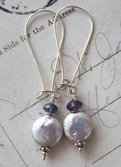 Silvery Shades - No1/Iolite, Freshwater Coin Pearl, Sterling Silver | miabellacollection-jewelry - on ArtFire