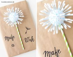DIY Geschenkverpackung: Pusteblume  //  DIY Gift Wrapping Idea: Dandelion Topping