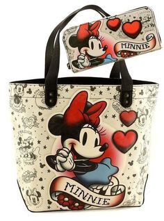 - Disney's Minnie Mouse Tattoo Flash Tote Bag - Large Minnie Mouse Applique on Front - Loungefly Hardware on the Back and Magnetic Closure - Lined withPolka Dot Lining - Bag Measures: 19 X 15 X 6 inch Disney Tote Bags, Disney Handbags, Disney Purse, Purses And Handbags, Coach Disney, Fashion Handbags, Minnie Mouse Purse, Disney Outfits, Disney Fashion