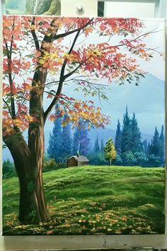 Canvas Painting Tutorials, Diy Canvas Art, Nature Paintings, Scenary Paintings, Beautiful Paintings Of Nature, Tree Paintings, Forest Painting, Bridge Painting, Sky Art