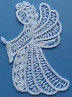 These gorgeous Angel are made in the Romanian Point Lace, an old European lace technique. They are sold as kits and we also do custom work, we can make them for you. Each kit contains: pattern drawn on muslin, DMC Cebelia 100% Cotton thread, size 20 for c