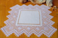 $43.13 Buy Napkin Mystery amphorae, lace embroidery, linen - white, lace doily