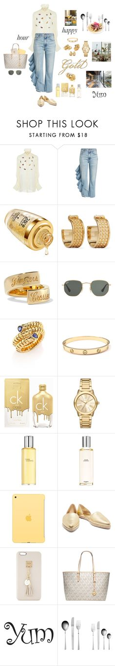 """""""Happy lunch"""" by mbarbosa ❤ liked on Polyvore featuring Carven, Citizens of Humanity, Loewe, Elizabeth and James, Ray-Ban, Marina B, Calvin Klein, Michael Kors, Hermès and Apple"""