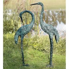 Aluminum crane statue does its bending routine in the garden. Place this bending crane statue as a focal point. Crane statue is aluminum. Garden Frogs, Lily Garden, Garden Water, Frog Statues, Garden Statues, Buddha Statues, Baby Barn Owl, Rabbit Garden, Yard Sculptures