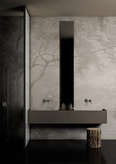 Vinyl Wall Covering For Bathrooms Vinyl wall covering for bathrooms. dark grey bathroom wall panels large tile effect small. grey clogs against the grain grey clogs a specialty. the design Gray Bathroom Walls, Bathroom Wall Panels, Bathroom Vinyl, Bathroom Wallpaper, Modern Bathroom, Vinyl Wallpaper, Vinyl Wall Covering, Tadelakt, Dark Interiors