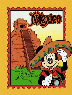 Mickey Mouse in the Mexican section of the World Showcase at EPCOT at Walt Disney World. Walt Disney, Disney Art, Disney Images, Disney Pictures, Epcot Mexico, Disney Micky Maus, Disney Clipart, Disney Scrapbook Pages, Vacation Scrapbook