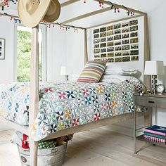 Totally charming. Like the casual feel of this vacation home which is aided by the photo display headboard. Via Coastal Living.