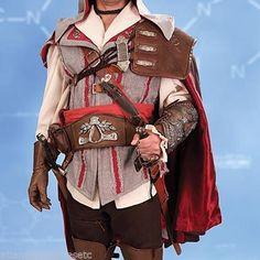 f1633f53201 Details about Museum Replicas Assassins Creed II Ezio Leather Pauldron  Ultra-Suede Satin Cape