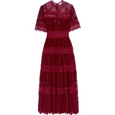 Zimmermann Curacao lace-trimmed broderie anglaise silk-georgette maxi... (€1.065) ❤ liked on Polyvore featuring dresses, red clothes, zimmermann, burgundy, red dress, floral printed dress, tiered dress, floral print dress and floral maxi dress