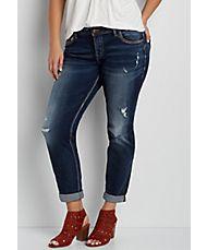 Silver Jeans Co.® plus size fluid boyfriend jeans with destruction