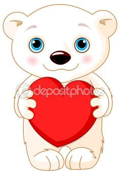 Illustration of very cute polar bear holds a heart Illustration , Bear Vector, Panda Birthday, Cute Polar Bear, Heart Illustration, Arts And Entertainment, Cute Images, Photoshop, Painted Rocks, Coloring Pages