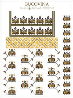 Semne Cusute: IA AIDOMA 078 = Bucovina, ROMANIA Beading Patterns, Knitting Patterns, Palestinian Embroidery, Embroidery Motifs, Embroidery Techniques, Flower Tutorial, Cross Stitching, Cross Stitch Patterns, Traditional