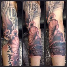 Grammar phone, continuation of a music sleeve.  Proudly sponsored by Body Shock tattoo supplies.