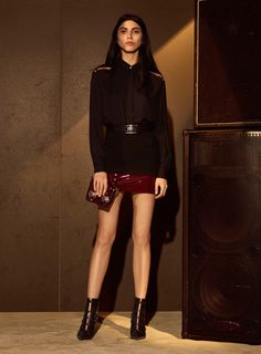 Versus Versace | Fall 2016 Ready-to-Wear | 09 Black long sleeve shirt and mini skirt with red hem