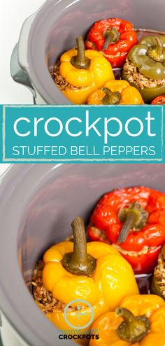 A simple healthy crock pot dinner that is sure to please! Check out this yummy Crockpot Stuffed Bell Peppers Recipe. Perfect for 21 Day Fix.