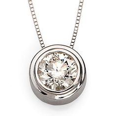 "I love this - tiny but perfect setting.  Ross-Simons - .12 ct. t.w. Bezel-Set Diamond Pendant in 14kt White Gold. 18"" - #139334"