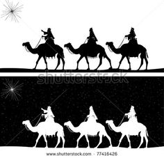 Vector silhouette graphic illustration depicting the three wise men on camels following the shining star of Bethlehem