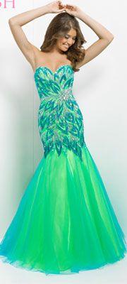 Blush 2014 Prom Dresses - Turquoise & Lime Strapless Embroidered Long Prom Gown