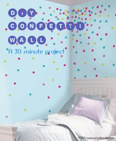 Create a Confetti Wall in 30 minutes with our easy #DIY #polkadot #wall #tutorial. http://bit.ly/1KiXFap