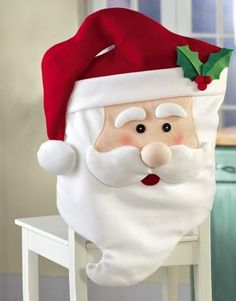 2016 Lovey Cute Santa Claus Hat Dinner Chair Covering Christmas Dining Table Cover Home Party XMas Chairs Covers Decoration Christmas Bunting, Decoration Christmas, Christmas Sewing, Xmas Decorations, Christmas Home, Christmas Crafts, Christmas Ornaments, Holiday Decor, Santa Christmas