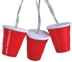 I need this for over the eating area !  Our Red Cup Party String Lights have the look of everyone's favorite red plastic party cups. Each strand of lights measures 12 feet long.