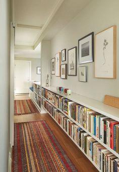 Long hallway decorating ideas decorating ideas for narrow hallway long wide hallway decorating ideas . Flur Design, Wall Design, House Design, Book Design, Low Bookshelves, Bookshelf Wall, Book Shelves, Bedroom Shelves, Bookshelf Ideas
