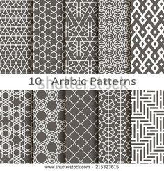 Set of ten Arabic patterns - stock vector