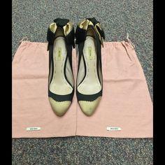 Miu Miu Black/Beige Stilettos Satin Bow on Heel Elegant, chic, unique. Miu Miu Shoes Heels