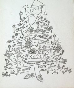 Santa Claus as Christmas Tree, 1949 or later  Offset printing, black-and-white lineshot  7 x 5 inches (17.8 x 12.7 cm)  Published by The Museum of Modern Art  Collection of Tom Bloom