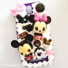 Mickey and Minnie baby decoden case available for most phones at £15  https://www.etsy.com/shop/YYKawaii  Decoden, kawaii, sweets