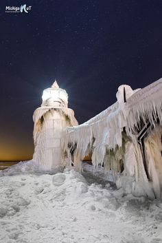 """Natures Art"" Winters icy grip at St Joseph Lighthouse"