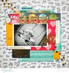 #papercraft #scrapbook #layout. baby scrapbook page by shimelle laine @ shimelle.com (with video!)