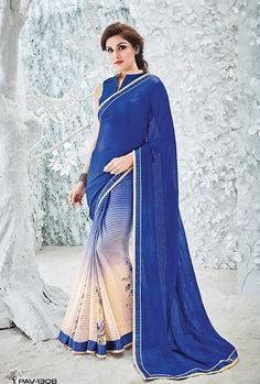 Buy Blue and cream Saree from shayona junction.Leading online store to buy latest designer sarees and designer sari online USA,India.