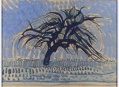 Piet Mondriaan [1872-1944] De blauwe boom 1908 hoogte 75,5 cm breedte 99,5 cm tempera op karton Gemeentemuseum Den Haag