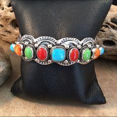Navajo Multi Stone And Sterling Silver Bracelet
