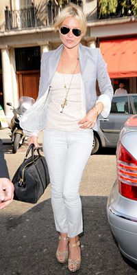 Kate Moss lightens up in whites and grays, by PacificCoastNews