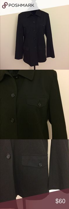 Talbots black jacket Talbots stretch black jacket with four pockets. 64% polyester, 31% viscose rayon, 5% spandex. Bust: 42.5 inches, sleeves: 24.25 inches, length: 28.75 inches. Talbots Jackets & Coats
