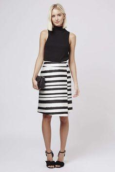 Striped Wrap Front Midi Skirt - Topshop