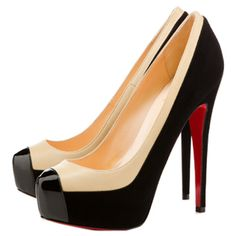 Christian Louboutin Mago Two Tone Suede Pumps Black Red Sole Shoes