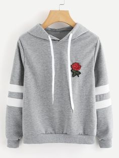 To find out about the Rose Patch Stripe Sleeve Hoodie at SHEIN, part of our latest Sweatshirts ready to shop online today! Mode Outfits, Fashion Outfits, Fashion Fashion, Fashion Ideas, Fashion Shoes, Vintage Fashion, Stylish Hoodies, Hoodie Sweatshirts, Fashion Mode
