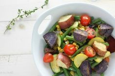 Rainbow Roasted Potato Salad is tossed in a light lemon shallot vinaigrette making this a potato salad that stands on it& own. Easy Salad Recipes, Easy Salads, Side Recipes, Healthy Recipes, Delicious Recipes, Roasted Potato Salads, Roasted Sweet Potatoes, Homemade Bruschetta, Caprese Pasta Salad