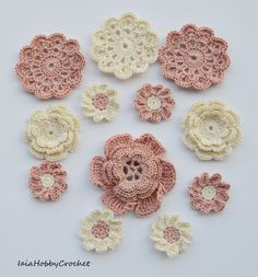 12 beautiful crochet flowers appliques, great embellishments for your scrapbooking and sewing projects.  Made from a lovely 100% cotton crochet thread in ivory and powder pink.  This collection includes:  1 four- layer flower diameter approximately 6,5 cm (21/2); 2 three-layer flowers approx. 5 cm (2); 3 mini doilies approximately 6 cm (little less than 21/2); 6 daisies 3,5 cm (1 1/4).  Need them in different colours? See my others listing here…