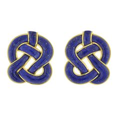 Tiffany & Co. Lapis Gold Knot Earrings | From a unique collection of vintage more earrings at http://www.1stdibs.com/jewelry/earrings/more-earrings/