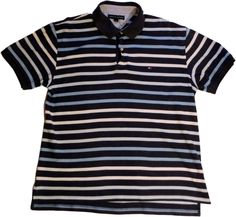 Tommy Hilfiger shirt polo t-shirt mens striped size L short sleeve 100% cotton #TommyHilfiger #Polo